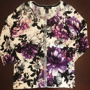 White House | Black Market Floral Cardigan